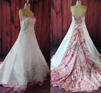 vintage Pink Camo Sweetheart Embroidery Beading Wedding Dresses Custom Lace Up Back Corset Realtree Country Bridal Gowns Camouflage