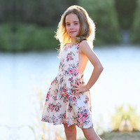 Vieeoease Girls Dress Floral Kids Clothing 2019 Summer Fashion sin mangas de encaje estampado de flores vestido de princesa CC-210