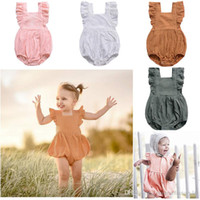 Girls Baby Flare Sleeve Rompers With Button Ins Ruffler Jump...