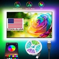 Lager in USB 5050 RGB LED-Streifen ohne wasserdichte DC 5V USB-LED-Lichtstreifen flexibles Band 3m 9.8ft-Hinzufügen mit Bluetooth-App-TV-Hintergrund