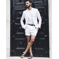 New Arrival White Summer Short Mens Suits for Beach with Sho...