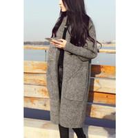 2019 Nouveau long Cardigan Femme Automne Hiver Pull Femmes solides Manches longues pour femmes Cardigans Pull en maille gris couleur Camel