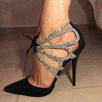Glitter black silver sequined lace up hollow out high heel p...