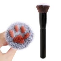 Gato glaw shape lindo fundación cepillo hombre hecha hecha de pelo abedul manija cara maquillaje pinceles pop encantador maquillaje herramienta de belleza