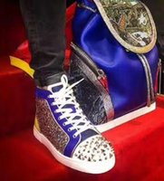 Fashion Red Suola Sneaker con strass Diamond Red Bottom Red Spiked Pik Shoes Rivet High Strass uomo in pelle Red Blue Con Sliver Stud