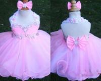 Pembe Halter Kristal Fermuar Geri Kolsuz OW Organze Çiçek Kız Boncuk Cupcake Pageant Elbiseler Çocuk Toddler Glitz Balo Bebek Balığa