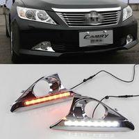 2 Pcs DRL Para Toyota Camry 2012 2013 2014 luzes diurnas de nevoeiro tampa da lâmpada com luz de sinalização de luz amarela
