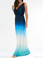 Fashion-2017, Außenhandel in Europa und den Vereinigten Staaten Gradient Farbe Abendkleid reizvolles Halter-Kleid lang
