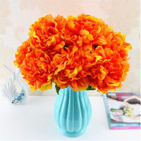 손으로 만든 인공 모란 실크 꽃 도매 인공 꽃 한 꽃다발 다섯 꽃 머리 여섯 색상 선택