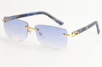 بيع بدون شفة الرخام الأزرق منقوشة نظارات شمسية 8200757 خمر أزياء عالية الجودة العلامة التجارية الشمس النظارات فريدة المتضخم الأشكال النظارات
