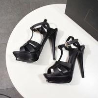 Kadın Tribute Sandalet Deri Platformu Sandal T-Strap Yüksek Topuklu Bayan Ayakkabı Pompaları Parti Ayakkabı 10 cm 14 cm Kutusu Ile 4-11