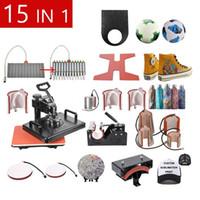 شحن مجاني 15 في 1 كومبو التسامي الحرارة الصحافة آلة تي شيرت آلة نقل الحرارة لتخصيص تي شيرت / سلسلة المفاتيح / القلم