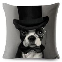 Buldogue francês fronha Animais lençóis de algodão 45 * 45 Dog Praça capa de almofada para o sofá inicial impresso decorativa Lance Pillowcase
