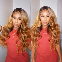 Natural Wave Ombre Blonde Full Lace Human Hair Wigs With Bab...