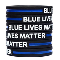 Blue Lives Matter Silicone Wristband Bracelet Soft Flexible ...