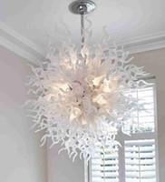 Flush Mount Branco lâmpadas de candelabro sopradas iluminação de arte interior decoração LED Círculo Pingente de Luz Murano Chandeliers Luzes de teto