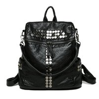 Fashion Women Lady School Leather Girls Rivet Studded Backpack Travel Handbag Shoulder Bag