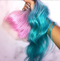 긴 그라디언트 3 색 핑크 바이올렛 블루 옴 브레 머리 100 % 인간의 머리 레이스 가발 파티