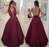 Personalizados do laço de Borgonha Prom Dresses 2020 Vestidos apliques Pérolas trem da varredura longa noite formal do partido com Bow