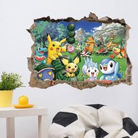 3D Broken Wall Decor Pikachu Wall Stickers per bambini Camere Home Decor Poster di cartone animato fai da te Poster da parete murale Stickers murali