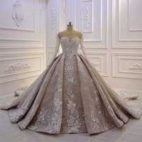 Luxury Arabic Lace Appliqued Ball Gown Wedding Dress Dubai C...