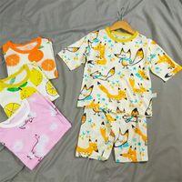 INS Summer Kids Coton Pyjamas Ensemble À Manches Courtes T-shirt + Shorts 2 pièce Ensembles Fruit Animal Print Vêtements De Nuit Enfant De Bande Dessinée Nuit Vêtements