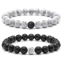 Pulsera de parejas de roca de lava para mujeres Pulsera de 8 mm de piedra natural Parejas de alivio de estrés Pulsera de yoga Pulsera de curación de ansiedad para mujeres Hombres