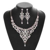 Die neuesten heißen Brautschmucksachen Halskette Ohrringe Set Rosengold Diamant Schmuck Geburtstags-Party-Dinner-Kleid Schmuck mit Kasten Freies Verschiffen