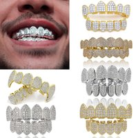 18K or véritable punk Hiphop cubique Zircon dents de vampire Fang Grillz dentaire bouche Grils Accolades dents Cap Rapper Bijoux Party cosplay