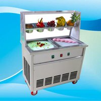 Machine de crème glacée frite commerciale Thaïlande Rouleau de crème glacée faisant de la machine à frire machine à glace avec barre de salade