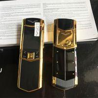 Yeni Unlocked Lüks Altın İmza Kaymak çift sim kart Cep Telefonu paslanmaz çelik gövde MP3 bluetooth 8800 metal Seramik geri Cep telefonu