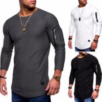 Hommes Solide Couleur O-cou À Manches Longues T-Shirt Zipper Couture Personnalité Casual Europe Et L'Amérique T-shirts Pour Petit Ami Cadeau