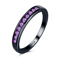 Hip hop men 18KGP stamp 18K black gold filled rainbown Party Rings with red purple crystal Ring Fit Suit Women lady fine jewelry wholesale