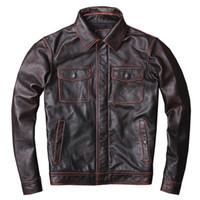 мягкий слой коровьей куртки из натуральной кожи для мужчин Стиль инструмента отворот с 4 карманами