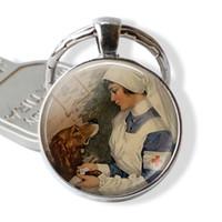 pendiente del encanto fashion8 llave-Veterinario de cúpula de cristal gemas llavero colgante - enfermera llavero chapado de plata de joyería - regalo para el amante del perro