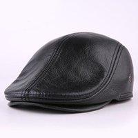 مصمم الرجال حقيقي حقيقي جلد بقبعة قبعة بيسبول أخبار القبعات القبعات الشتاء الدافئة قبعات جلد البقر
