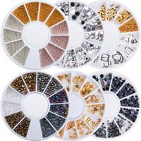 Art Strumento manicure punte del chiodo 3D di arte del chiodo delle decorazioni 12 Griglia acrilico colore misto Nails strass irregolare rivetto perline fai da te