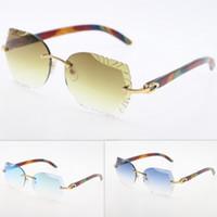 Gafas de sol sin montura ojo de gato gafas de lentes de madera tallado del pavo real Trimming lente gafas de sol Nueva vidrios sin rebordes Triángulo lente Gafas de sol caliente
