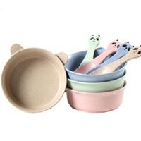 القمح سترو الطفل الخيزران أدوات المائدة مجموعة الحد الأدنى الأطفال أطباق وعاء مجموعة للطفل تغذية السلطانيات الأواني المائدة