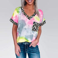 Галстук краситель леопардовый футбол женщины лето лоскутное v шеи с коротким рукавом топы футболки женщины с коротким рукавом футболка женщины