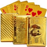 EURO USD Reproducción de oro tarjetas Cubierta de plástico hoja de oro Poker Durable a prueba de agua Poker magia Juegos de cartas Magic Tricks Puntales