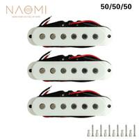 NAOMI 3PCS Chitarra Pickup 50mm Chitarra Single Coil Pickup Magnete in ceramica per chitarra elettrica bianca
