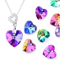 14mm Charms colorato Charms Love Heart Pendant Crystal Heart Beads Gemme per le donne Gioielli che fanno la collana dell'orecchino fai da te 12pcs / lot