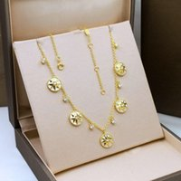 Gold Plated Necklaces Female 925 Sterling Silver Eight- point...