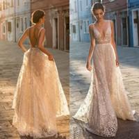 Gali Karten 2019 Uma linha Comprimento Boho vestidos de casamento vestidos de noiva Sexy Bohemian V profundo Neck Lace Appliqued Backless Tulle Andar com Beading