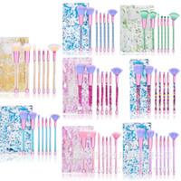 7pcs Makeup Brushes Glitter Crystal Makeup Brushes مجموعة المهنية مستحضرات التجميل أداة مسحوق الأساس ظلال العيون المكياج فرشاة
