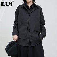 Женские блузки Рубашки [EAM] Женщины черный слой разделить сустав темперамент блузка отворот с длинным рукавом свободная подходит рубашка мода весна осень 2021