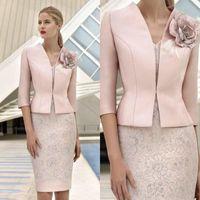 Elegante rosa de la madre de los vestidos de novia con chaqueta de encaje apliques con abalorios vestido de invitado de la boda de la rodilla longitud de la rodilla de la madre traje de la madre MD005