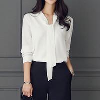 Zebery Tie Collier Simple Business Style Chemisier Chemise à manches longues femme de haute qualité shirt Hauts Microfibre Bureau Vêtements femme