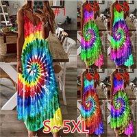 Kadınlar Yaz Maxi Elbise Tasarımcı Gökkuşağı Batik Whirlpool Elbise Kolsuz Ayarlanabilir Askı Elbise Genel Plajı Uzun Elbise D7104